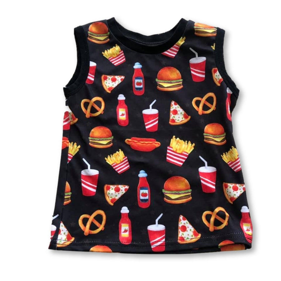 Black Fast Food Tank Top