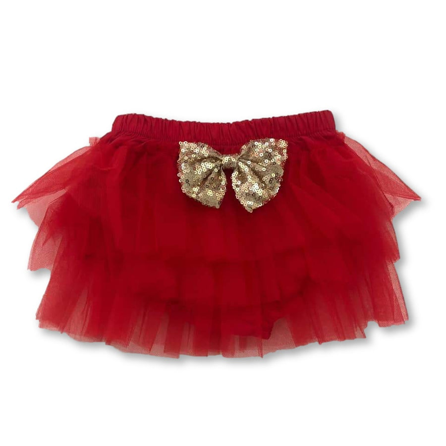 Red Sequin Bow Detail Tutu Bloomers