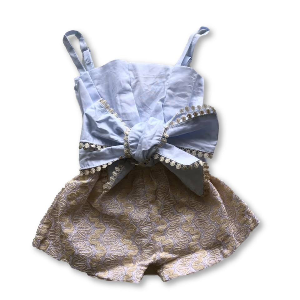 White Lace Bow Detail Romper