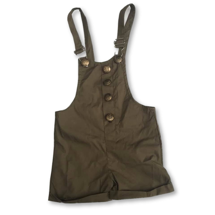 Olive Button Detail Overalls
