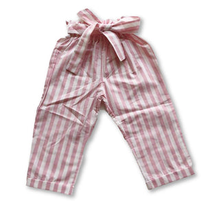 Pink Striped Belted Pants