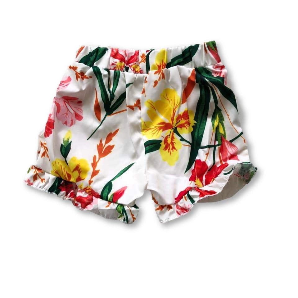 White Frill Hem Tropical Shorts