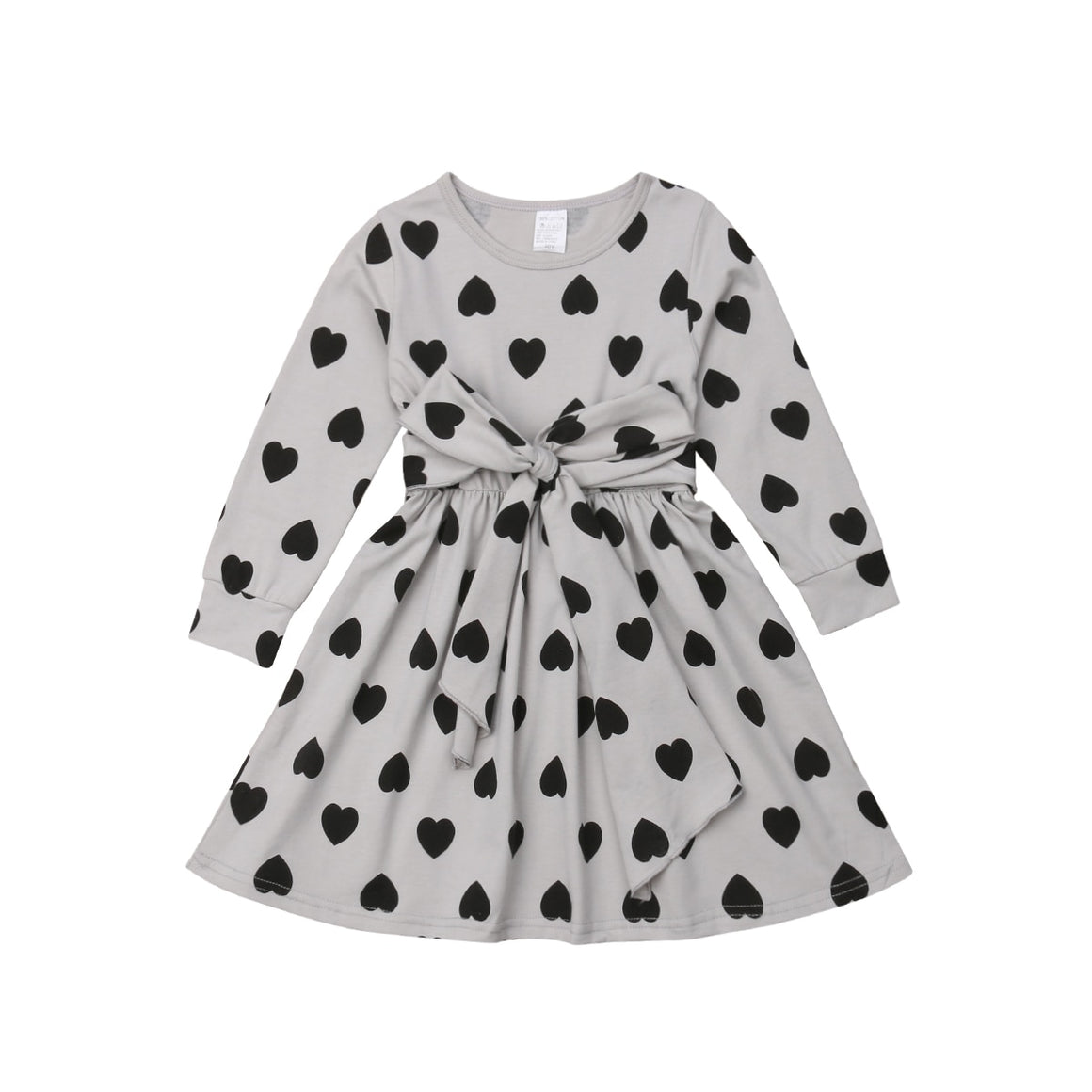 Long Sleeve Heart Print Dress