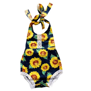Navy Backless Sunflower Romper