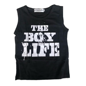 Black Sleeveless Slogan Tee