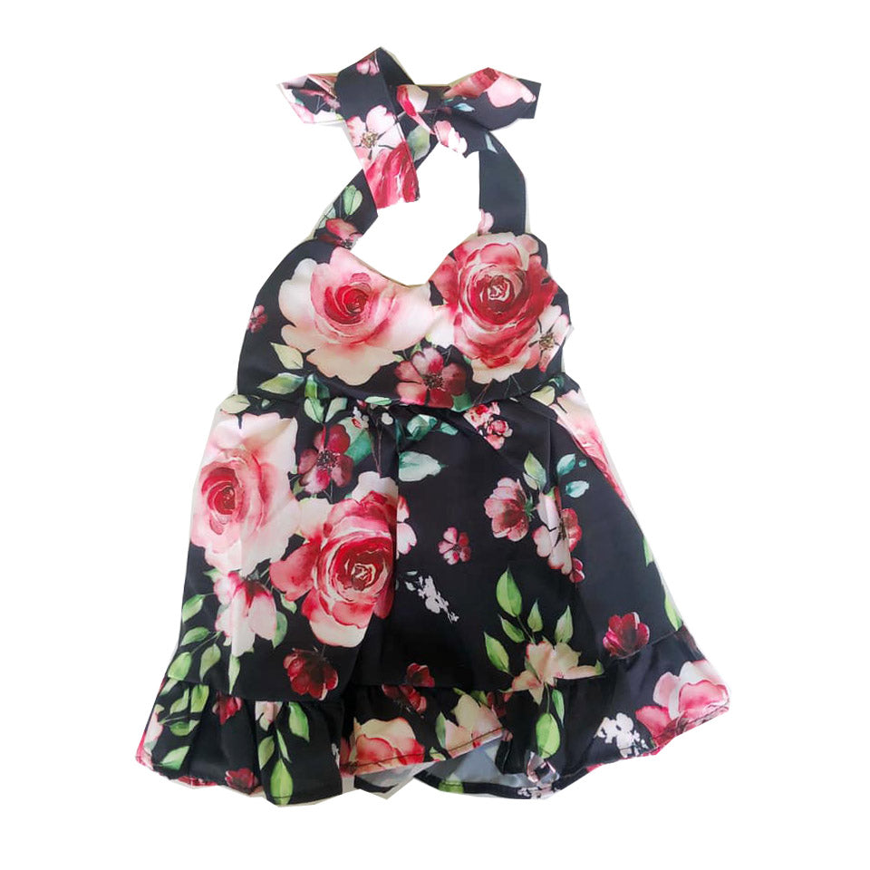 Black Floral Sweetheart Halter Dress
