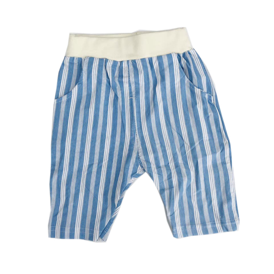Blue Striped Pocket Detail Shorts