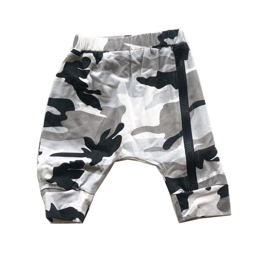 Camo Zip Detail Harem Shorts
