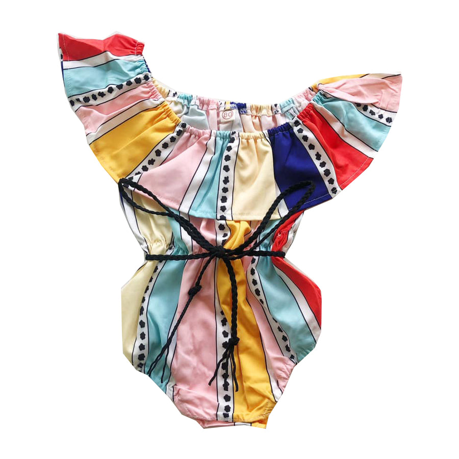 Colored Frill Detail Belted Romper