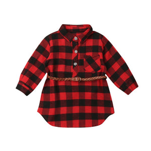 Red Plaid Tunic with Belt