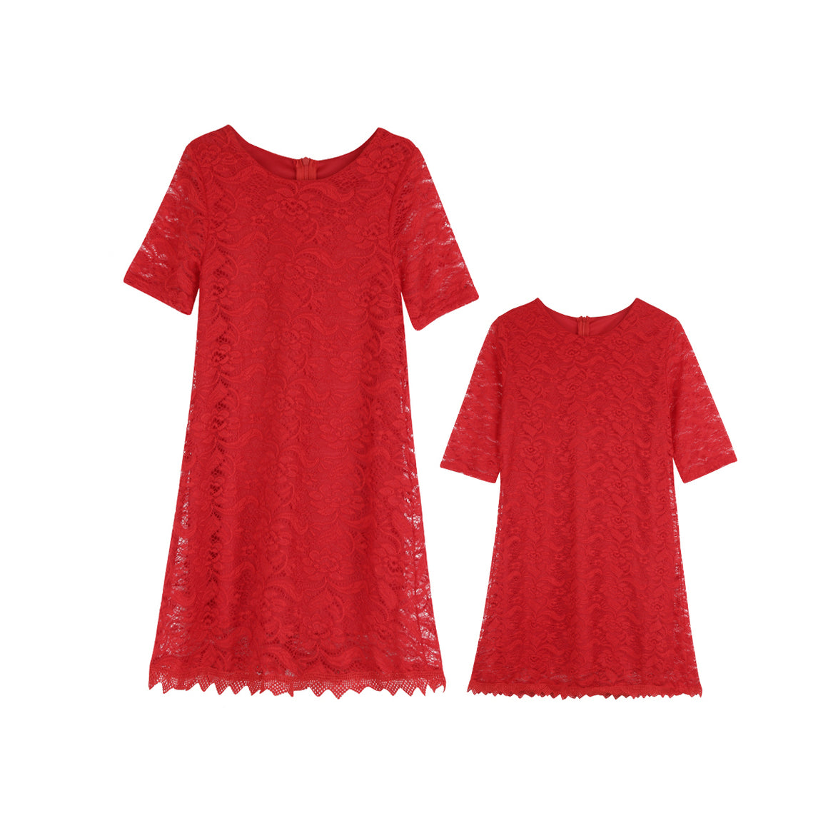 Red Mommy & Me Lace Dress