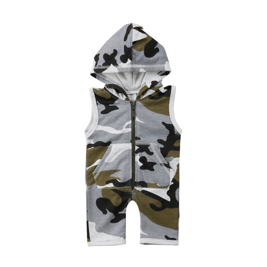 Sleeveless Dinosaur Hooded Camo Romper