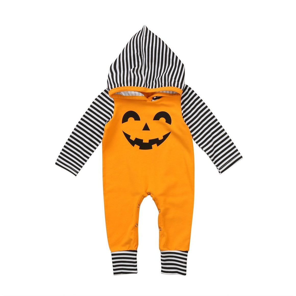 Pumpkin Striped Hooded Coveralls