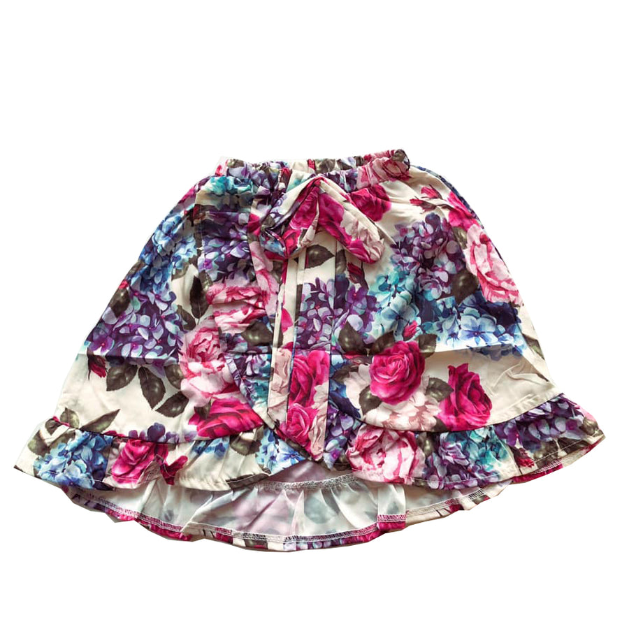 Floral Wrap Over Frill Hem Skirt