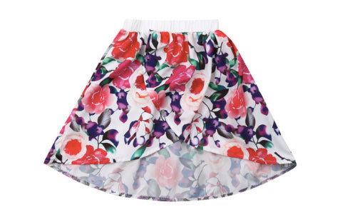 Floral Wrap Over Front Skirt