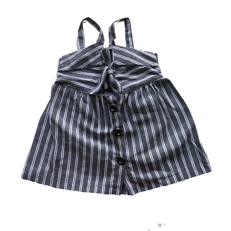 Gray Striped Key Hole Button Dress
