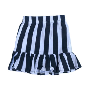 Monochrome Stripes Flippy Hem Skirt