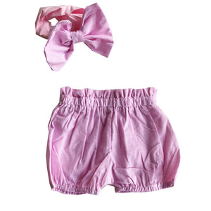 Pink Striped Shorts & Matching Headband