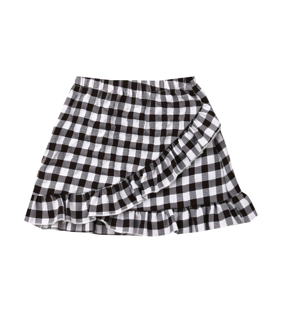 Plaid Double Frill Hem Skirt