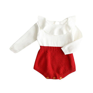 White & red knit romper | NB to 18M