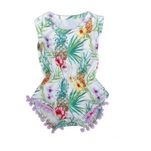 Purple Touch Tropical Pom Pom Detail Romper
