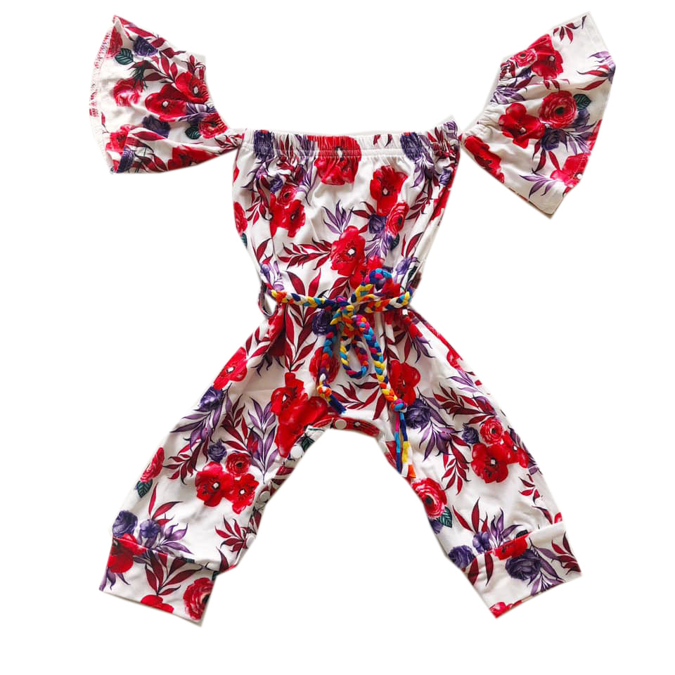 Red Floral Bardot Belted Jumper