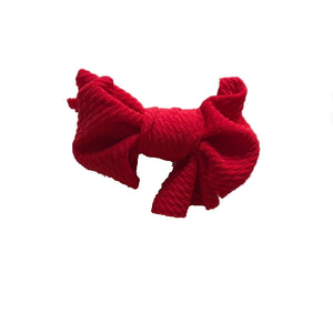 Red Textured Bow on Clip