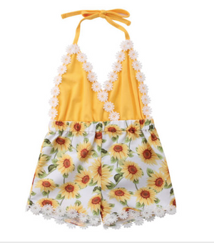 Yellow Halterneck Sunflower Romper