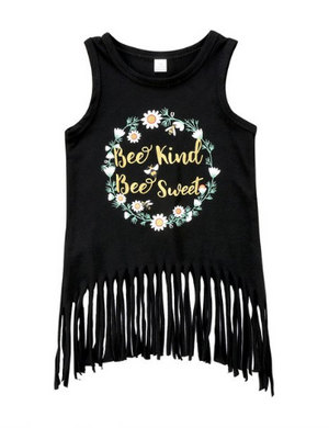 Black Fringe Hem Slogan Tunic