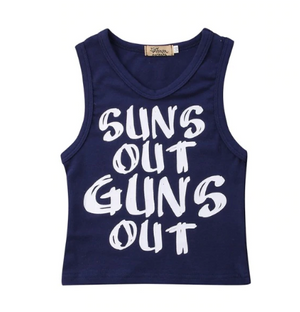 Navy Sleeveless Slogan Tee