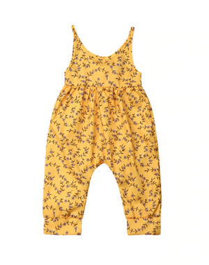 Yellow Floral Halter Jumper