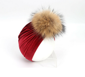 Red Extreme Pom Pom Headwrap
