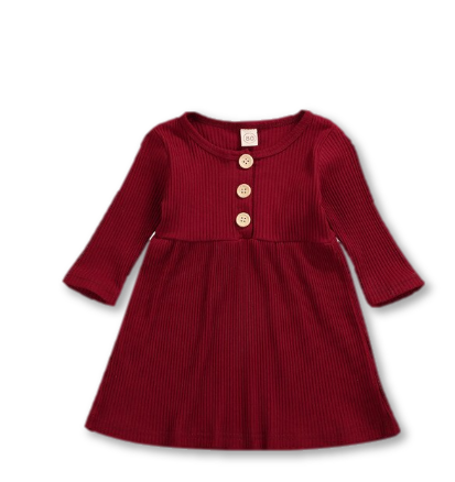 Red Ribbed button Detail Dress