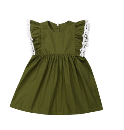 Olive Pom Pom Sleeve Dress