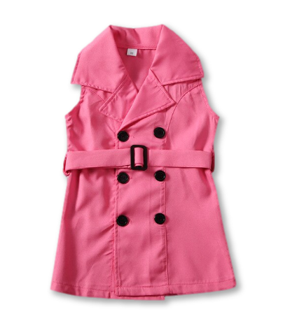Pink Sleeveless Button Detail Belted Blazer Dress