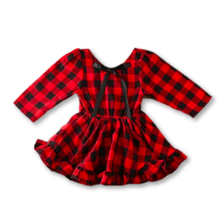 Plaid Frill Hem Holiday Dress