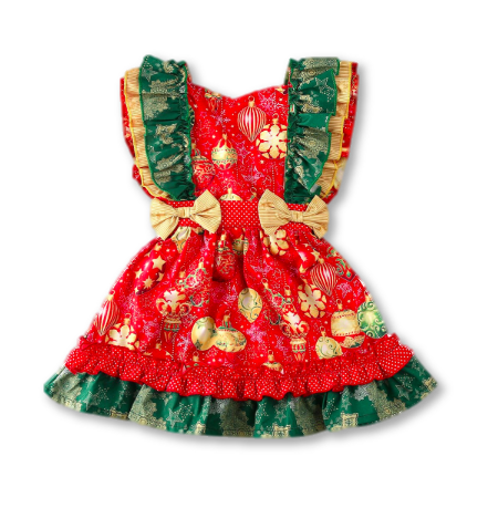 Tri-colored Bow Detail Frill Holiday Dress