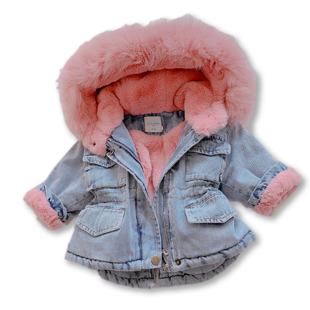 Pink Fur Detail Oversized Denim Jacket