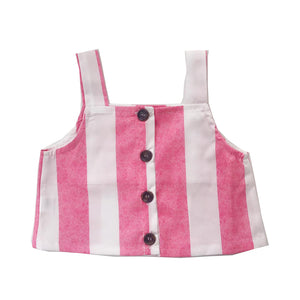 Pink Striped Button Front Top