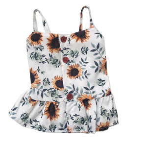 Strappy Sunflower Ruffle Detail Top