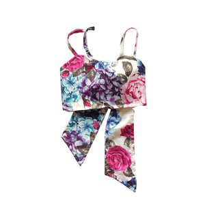 Strappy Sweetheart Floral Crop Top
