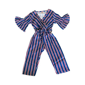 Striped Bell Sleeve Belted Jumpsuit