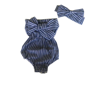Striped Front Knot Romper