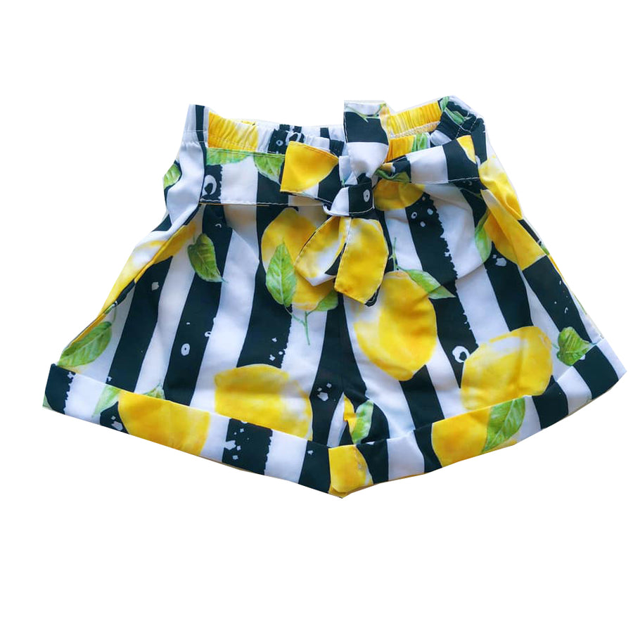 Striped Knot Detail Lemon Shorts