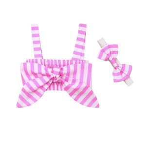 Striped Tie Front Bandeau Top