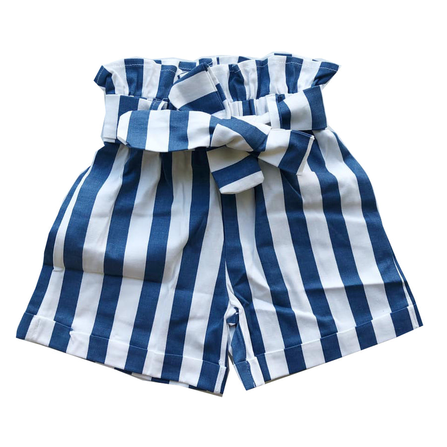 Striped Paperbag Belted Shorts