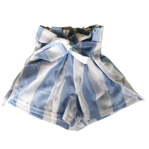 Striped Paperbag Knot Detail Shorts