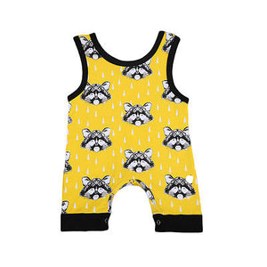 Yellow racoon romper