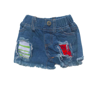 Blue Frayed Hem Watermelon Denim Shorts