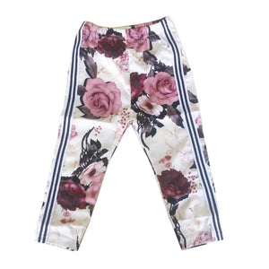 White Floral Double Side Stripes Pants